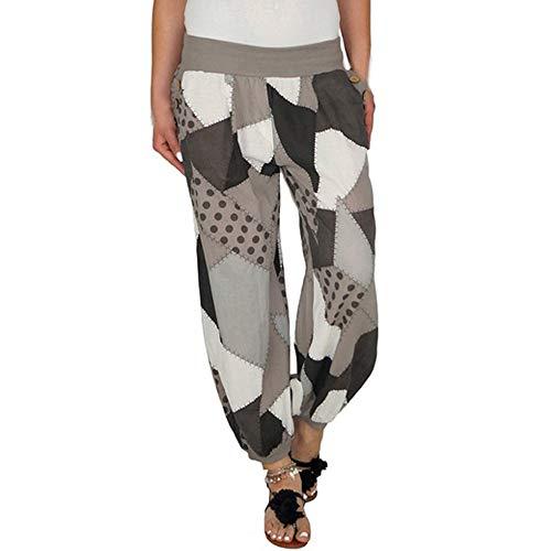 Odjoy-fan stampa pulsante elastico a vita alta pantaloni i della tuta pantaloni lunghi delle donne di yoga sport stile casuale dei signore harem pants bloomers estivo con tessuto cintura