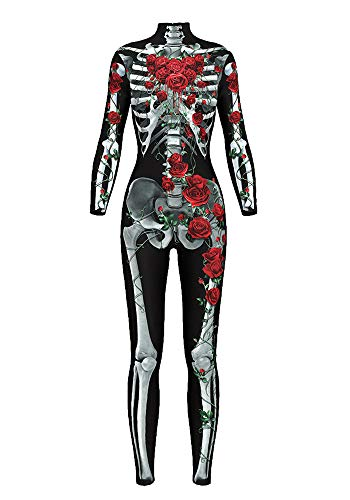 (URVIP Damen Halloween Jumpsuit Kostüm 3D Print Langarm Skinny Knochen Skeleton Catsuit Cosplay Skelett Overall Bodysuit Anzug Karneval Fasching BDS-97002 L)
