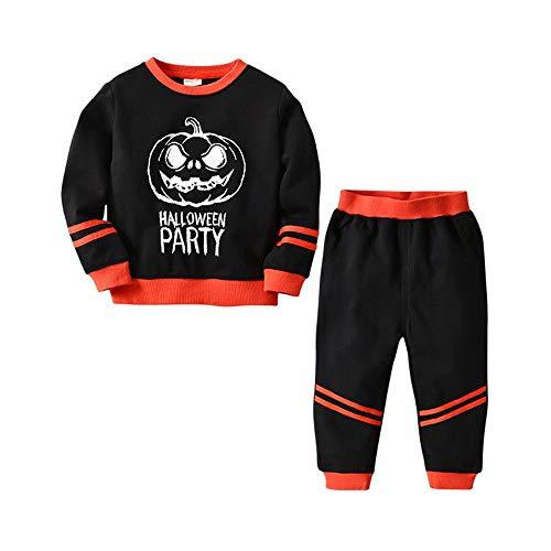 Hukangyu1231 Little Girl Boy Pyjamas 100% Baumwolle Langarm Kinder Halloween Party Kleidung Kinder Pyjama Shirt Damen Halloween Kostüm (Farbe : Schwarz, Größe : 120cm)