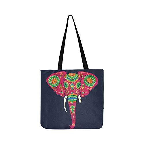 Day Dead Bunte Sugar Elephant Head Canvas Tote Handtasche Schultertasche Crossbody Taschen Geldbörsen für Männer und Frauen Einkaufstasche (Elephant Head Kostüm)
