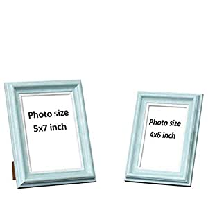 "Art Street Customize Table Photo Frame/Picture Frame for Desk (Photo Size 5""X7"" & 4""X6"") Photo Gift/Love Gift - (Set of 2- Light Blue)"