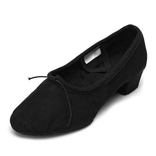 HIPPOSEUS Donna Ballroom Scarpe da ballo /sala da ballo scarpe/Scarpe da ballo latino standard,Modello-IT101 Nero-1
