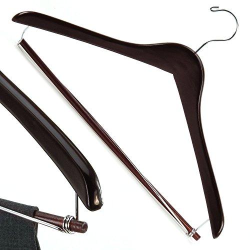 10 Premium Mahagoni Kleiderbügel mit sperrbarem Hosensteg - 43 cm - Hangerworld (Mahagoni-kleiderbügel)