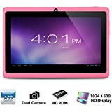 Alldaymall A88X Tablette tactile 7 pouces - Android 4.4, Quad Core, 1024x600 HD, double caméra, Bluetooth, Wi-Fi, 8GB, jeux 3D pris en charge - Rose