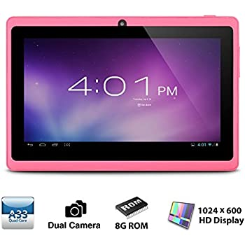 Alldaymall A88X Tablet de 7 Pulgadas - Android 4.4, Quad Core,8 GB ROM, HD 1024x600, Wi-Fi, Bluetooth, OTG,Soporte para juegos 3D - Rosa