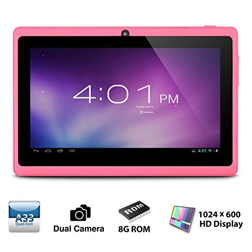 Alldaymall A88X Tablette tactile 7 pouces - Android 4.4, Quad Core, 1024x600 HD, double caméra, Bluetooth, Wi-Fi, 8GB, jeux 3D pris en charge - Rose