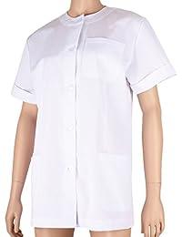Misemiya ® Casaca Médica Doctora Enfermera con Botón Cuello Redondo Uniforme Laboral Veterinaria Sanitarios - Ref