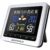 Qomolo Estación meteorológica inalámbrica con Monitor de Humedad y Temperatura Interior, Sensor Exterior, Fecha, Reloj Despertador, Fase Lunar (Plateado)