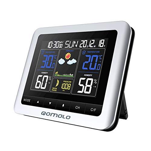 Qomolo Funk Wetterstation mit Außensensor Thermometer Hygrometer Digital für Innen und Außen Farbdisplay mit Umfassendem Blickwinkel Uhrzeit Wettervorhersage Temperatur Feuchtigkeit Anzeige