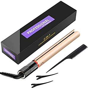 BUDDYGO Hair Straighteners and Curling Wand 2 in 1 Professional Curling Tongs with Ceramic Tourmaline Flat Iron for Hair Straightening and Curler, Adjustable Temperature, Dual Voltage and Safety Lock