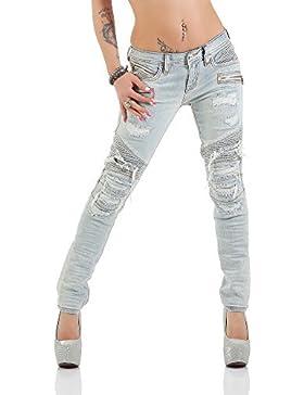 Rock Revival Jeans Pantaloni Donna GABY S208 MOTO Magrissime