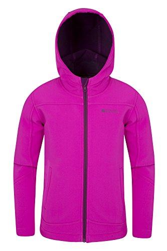 Mountain Warehouse Exodus Kinder wasserabweisende Softshelljacke Mantel Übergangsjacke Regenjacke mit Kapuze viele Farben warm winddicht atmungsaktiv outdoor unisex Jungen Mädchen- Gr. 140 (9-10 Jahre) , Leuchtendes Pink