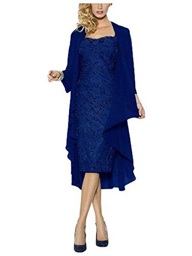 JAEDEN Donne Pizzo Abiti da ballo con giacca chiffon Corto Vestito da sera Madre di abito sposa Blu reale
