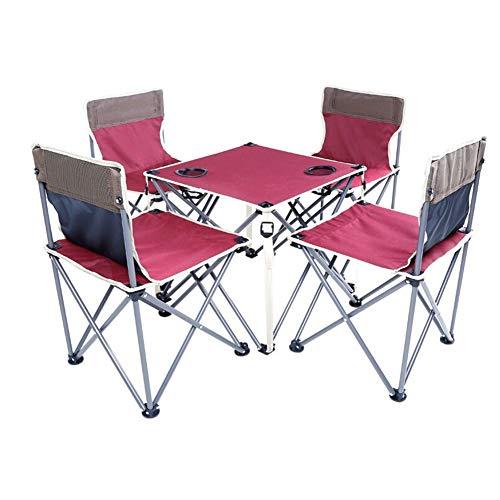 Betty Tabelle Outdoor Klapptisch und Stuhl Set Angeln Stuhl Hocker Tragbare Outdoor selbstfahrende Auto Tisch und Stühle 1 Tisch 4 Stühle (Color : Red) (Computer-ventilator-mesh)