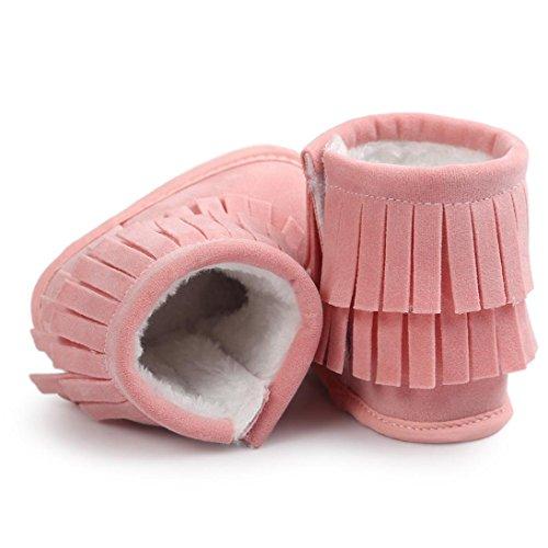 Ularma Babyschuhe für 0-18 Monate Warm Quasten Schuhe Weiche Sohle Krabbelschuhe Boots Pink
