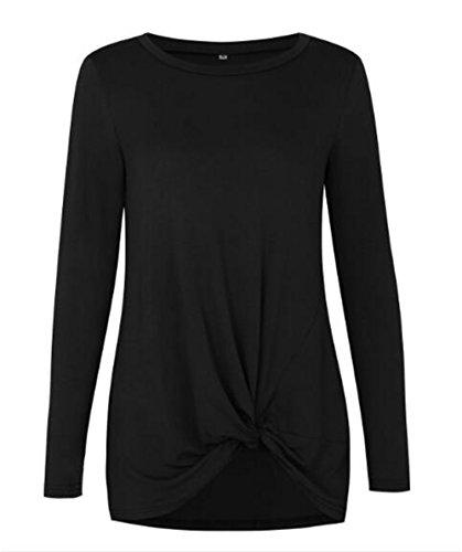 Aoliait University Casual Femme Couleur Unie Tee Shirt Manche Longue Noueux Ourlet Haut Basique Col Rond Soft Top Fashion Détendu Blouse Black