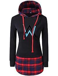 4d5f7f664bd0a OENKIKIN Alan Walker Femme Sweat-Shirts à Capuche Pullover Manche Longue  Décontractée Sweats Carreaux Haut