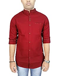 Kuons Avenue AA Men's Maroon Linen Cotton with Belgian Print Mandarin Chinese Collar Long Sleeve Fusion Casual Shirt