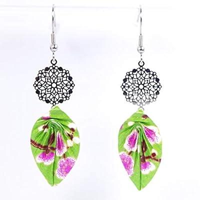 Boucles d'oreilles feuilles origami vertes avec des fleurs mauves et rosace - crochets inox