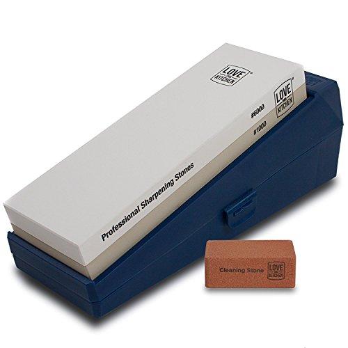 Premium Messerschärfer Steinset, Körnung 1000/6000 - Ideal für Koch-, Küchen- und Outdoor-Messer - Großer 21x7cm Professioneller Dual-Wetzstein. Rutschfester Boden, Schutzhülle (kein Bambus)
