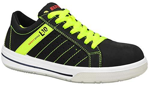 ELTEN Sicherheitsschuhe BREEZER black Low ESD S1P, Herren, sportlich, Sneaker, leicht, schwarz/neon, Stahlkappe