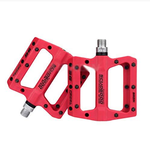RUIX Fahrradpedale - Nylonfasergelagertes Pedal, Rutschfestes, Verschleißfestes Fußpedal,Red