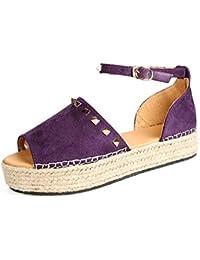 Sandalias Mujer Plataforma Correa de Tobillo Remache Alpargatas Hebilla Punta Abierta Chanclas Verano Zapatos Caminar Boda