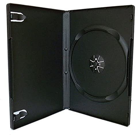 50x simple DVD standard cas 14mm colonne vertébrale Housse à manches avant transparent noir