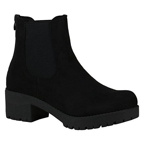Damen Schuhe Chelsea Boots Blockabsatz Plateau Stiefeletten Leder-Optik 150483 Schwarz Velours 39 Flandell