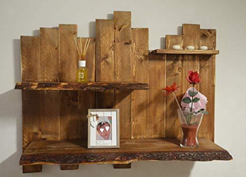 Rustikale Wohnwand aus recyceltem Holz mit Rinde, scharfer Kante, Design-Fotorahmen mit Live-Kantenregal,Buchhalter aus Massivholz