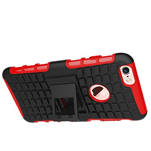 "iphone 6s Plus Coque, MYTH Coque Antichocs Video Béquille ShockProof Protecteur Etui Housse Cover pour iphone 6 Plus /6S Plus 5.5"" Blanc Rouge"