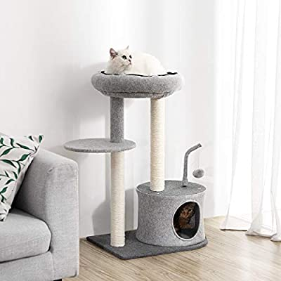 FEANDREA Cat Tree Sisal-Covered Scratching Posts, Padded Condo Top Perch, Playhouse Cat Tower Furniture, Felt Surface from FEANDREA