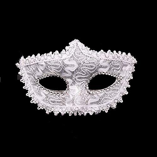 UyeFS-Masquerade Mask Lace Party Feather Mask Halloween-Abschlussball-Plastikmaske (Size : White) (Paare Kostüm Zum Verkauf)