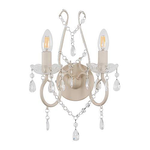 MiniSun - Tradicional aplique de pared de estilo 'Shabby Chic' con 2 focos - romántico con gotas decorativas
