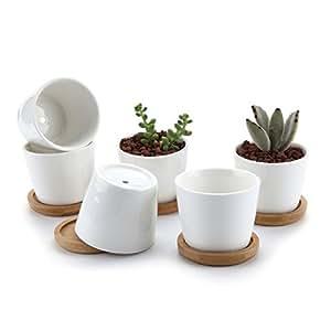 T4U Rotondo Bianco Design Semplice Ceramica Vaso di Fiori Pianta Succulente Cactus Vaso di Fiori Contenitore Impianto Vasi Vivaio Bianca, Confezione da 6