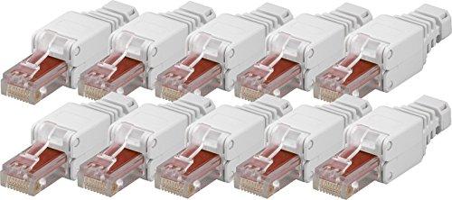 10x werkzeugfreier CAT6 RJ45 Netzwerk-Stecker für Gigabit Ethernet LAN für einfaches Anschließen ohne Werkzeug
