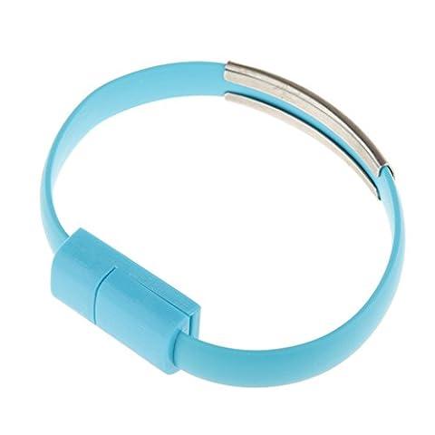 Bracelet Bracelet de Synchronisation de Données USB et Câble de Chargeur pour Téléphone Android - Bleu