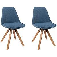 Duhome Elegant Lifestyle Chaise Salle Manger Lot De 2 En Tissu Bleu Slection Couleur