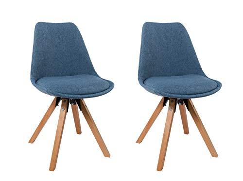 Sedie Blu Cucina : Set di sedia da sala da pranzo in tessuto azzurro blu design