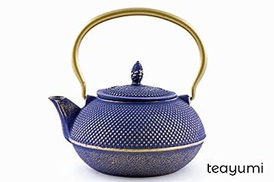 teayumi Arare Théière en Fonte Bleu/doré 0,9 l