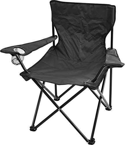 normani Robuster Camping Outdoor Angler Klappstuhl Outdoor Farbe Schwarz mit Armlehne