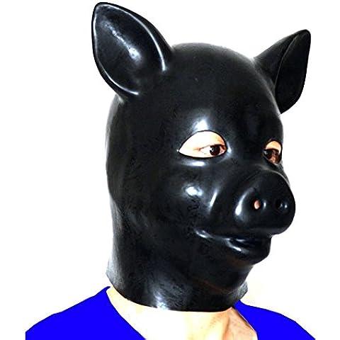 EXLATEX M¨¢scara de L¨¢tex capilla cerdo Animal Accesorios Fetish con trasera de la cremallera