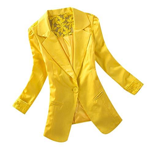 Supertong Damen Blazer Cardigan Dünn Spitze Drucken Anzugjacke Frauen Anzug Büro Blazer Einfarbig...