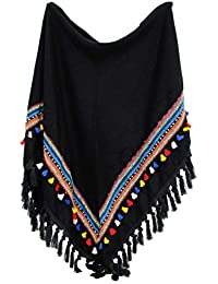 64fa06517ed1 itendance Echarpe Chale Triangle Grand Foulard Femme Mode Motifs Pompons  Azteque