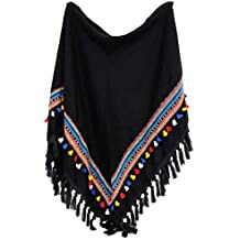 2dfdf910f114 itendance Echarpe Chale Triangle Grand Foulard Femme Mode Motifs Pompons  Azteque
