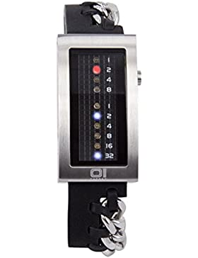 The One–irm109rb1–Magnet–Armbanduhr–Quarz Binär–Zifferblatt schwarz Armband Leder schwarz
