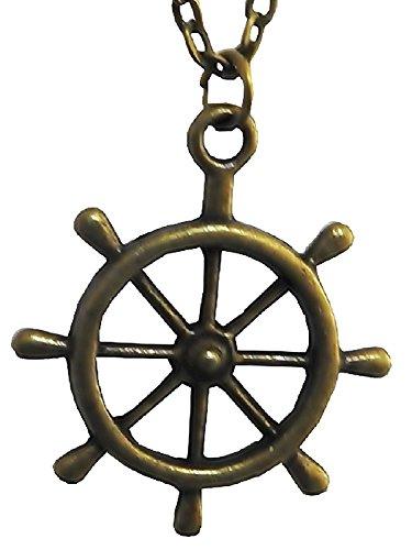 Inception Pro Infinite Anhänger-Halskette des Buddhismus-Karma-Rades - 7-Arm-Lenkrad - Bronzefarbe