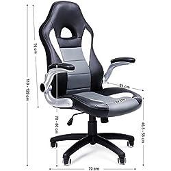 SONGMICS Racing Stuhl, ergonomischer Bürostuhl mit klappbaren Armlehnen und hoher Rückenlehne, höhenverstellbar, schwarz, grau und weiß, OBG28G