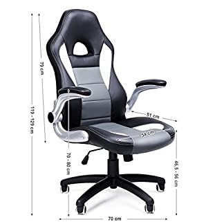 SONGMICS Racing Silla ergonómica para oficina estudio PU Giratoria Regulable 150 kg OBG28G