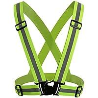 NONMON Chaleco Ajustable Reflectante de Seguridad con Alta Visibilidad Cinturón Elástico para Correr,Paseo,Ciclismo - Verde Fluorescente